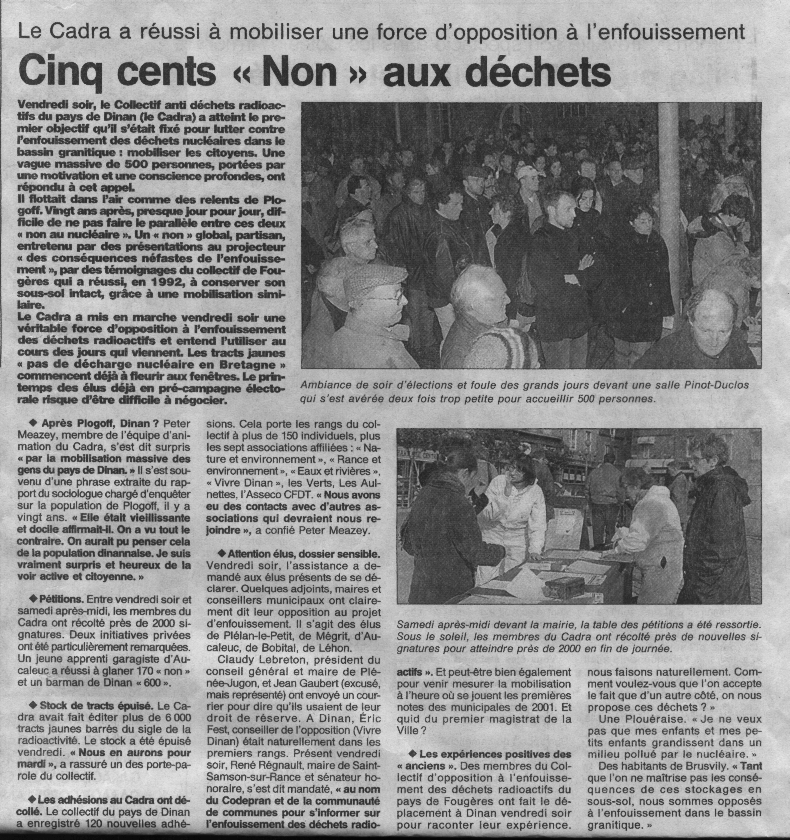Ouest France du 6.3.2000